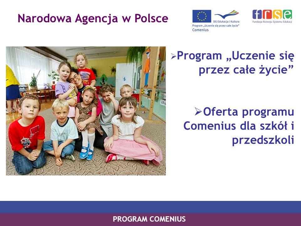 Narodowa Agencja w Polsce PROGRAM COMENIUS Program Uczenie się przez całe życie Oferta programu Comenius dla szkół i przedszkoli