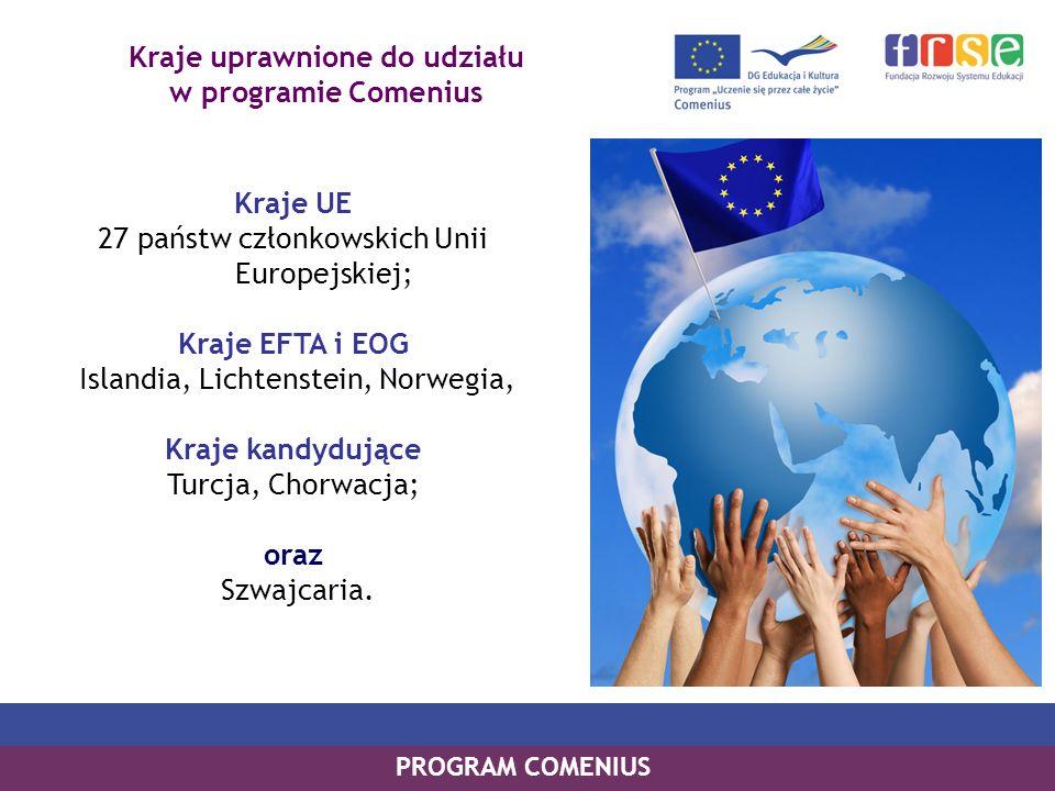 Kraje uprawnione do udziału w programie Comenius Kraje UE 27 państw członkowskich Unii Europejskiej; Kraje EFTA i EOG Islandia, Lichtenstein, Norwegia, Kraje kandydujące Turcja, Chorwacja; oraz Szwajcaria.