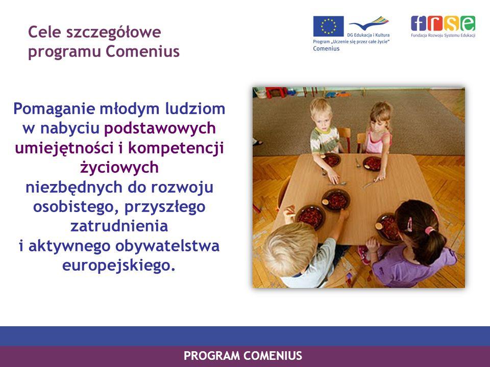 Cele szczegółowe programu Comenius Pomaganie młodym ludziom w nabyciu podstawowych umiejętności i kompetencji życiowych niezbędnych do rozwoju osobistego, przyszłego zatrudnienia i aktywnego obywatelstwa europejskiego.