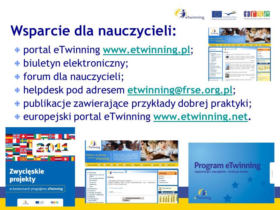 Wsparcie dla nauczycieli: portal eTwinning www.etwinning.pl;www.etwinning.pl biuletyn elektroniczny; forum dla nauczycieli; helpdesk pod adresem etwinning@frse.org.pl;etwinning@frse.org.pl publikacje zawierające przykłady dobrej praktyki; europejski portal eTwinning www.etwinning.net.www.etwinning.net