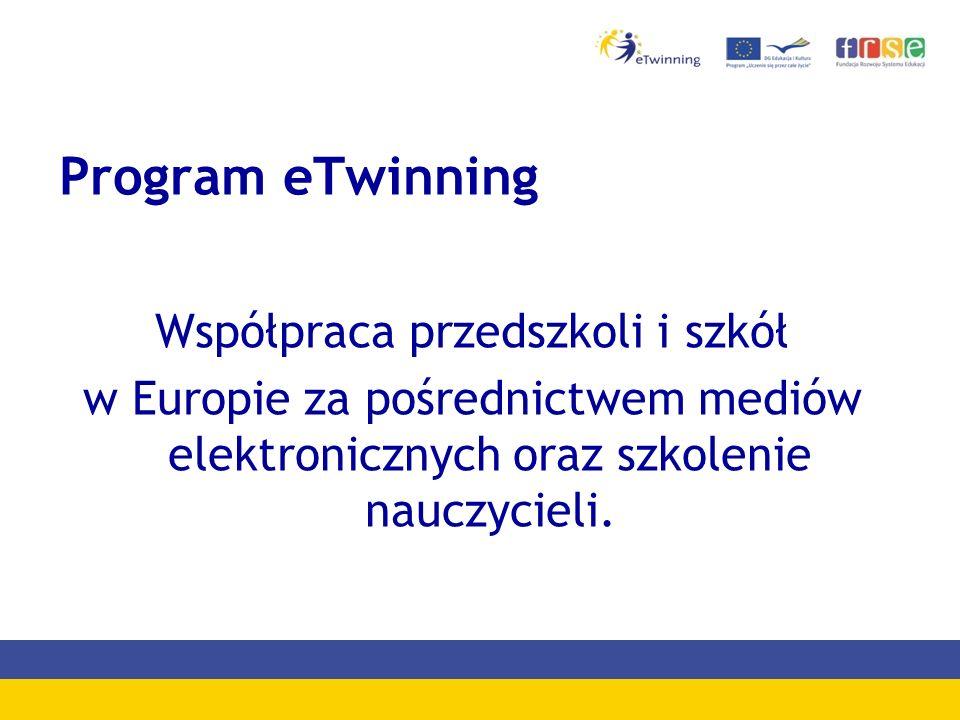 Program eTwinning Współpraca przedszkoli i szkół w Europie za pośrednictwem mediów elektronicznych oraz szkolenie nauczycieli.