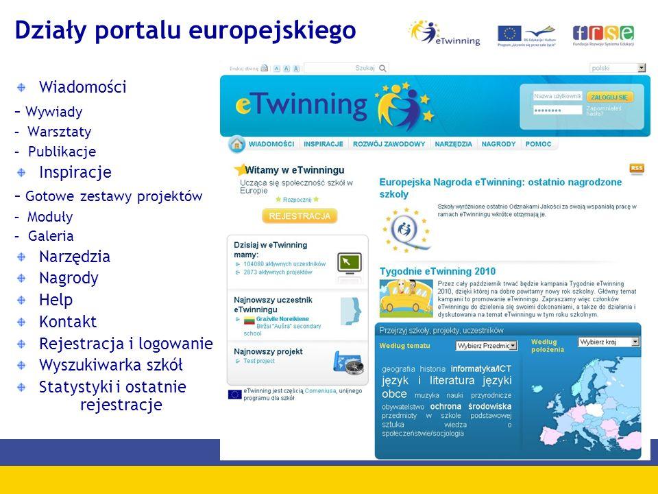 Działy portalu europejskiego Wiadomości - Wywiady - Warsztaty - Publikacje Inspiracj e - Gotowe zestawy projektów - Moduły - Galeria Narzędzia Nagrody