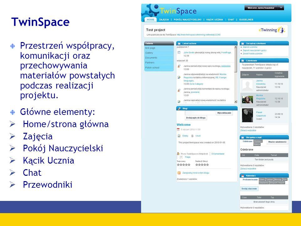 TwinSpace Przestrzeń współpracy, komunikacji oraz przechowywania materiałów powstałych podczas realizacji projektu. Główne elementy: Home/strona główn