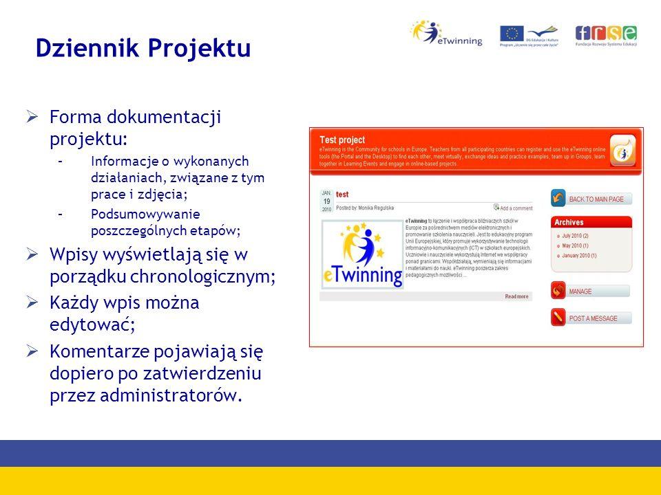 Dziennik Projektu Forma dokumentacji projektu: –Informacje o wykonanych działaniach, związane z tym prace i zdjęcia; –Podsumowywanie poszczególnych et