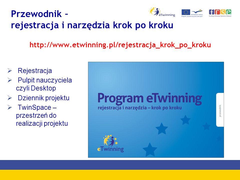 Przewodnik – rejestracja i narzędzia krok po kroku Rejestracja Pulpit nauczyciela czyli Desktop Dziennik projektu TwinSpace – przestrzeń do realizacji projektu http://www.etwinning.pl/rejestracja_krok_po_kroku