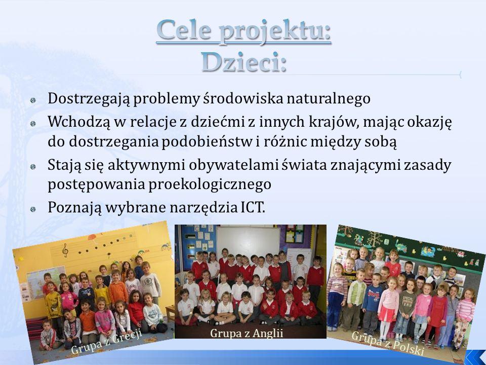 Dostrzegają problemy środowiska naturalnego Wchodzą w relacje z dziećmi z innych krajów, mając okazję do dostrzegania podobieństw i różnic między sobą Stają się aktywnymi obywatelami świata znającymi zasady postępowania proekologicznego Poznają wybrane narzędzia ICT.