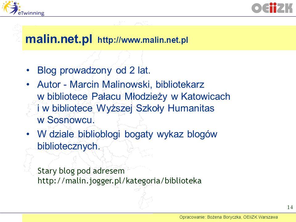 Blog prowadzony od 2 lat. Autor - Marcin Malinowski, bibliotekarz w bibliotece Pałacu Młodzieży w Katowicach i w bibliotece Wyższej Szkoły Humanitas w