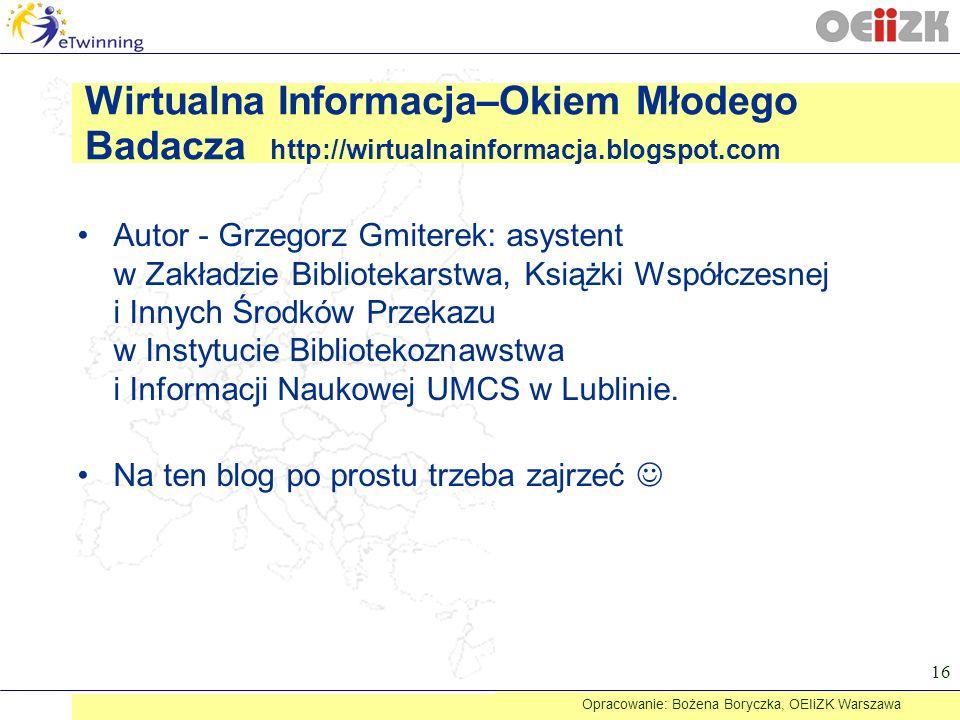 Autor - Grzegorz Gmiterek: asystent w Zakładzie Bibliotekarstwa, Książki Współczesnej i Innych Środków Przekazu w Instytucie Bibliotekoznawstwa i Info