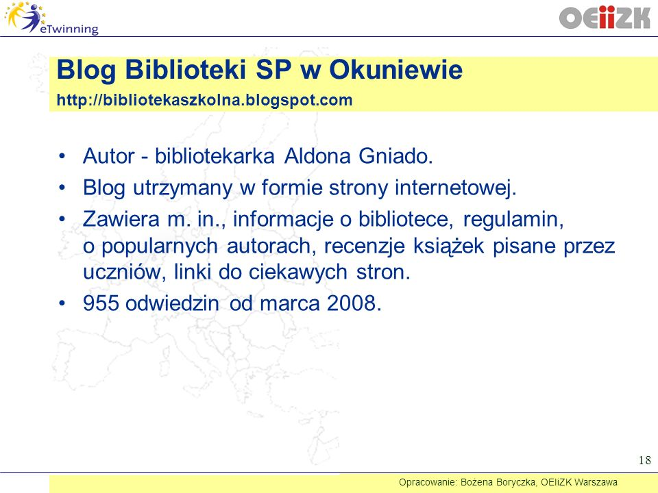 Autor - bibliotekarka Aldona Gniado. Blog utrzymany w formie strony internetowej. Zawiera m. in., informacje o bibliotece, regulamin, o popularnych au