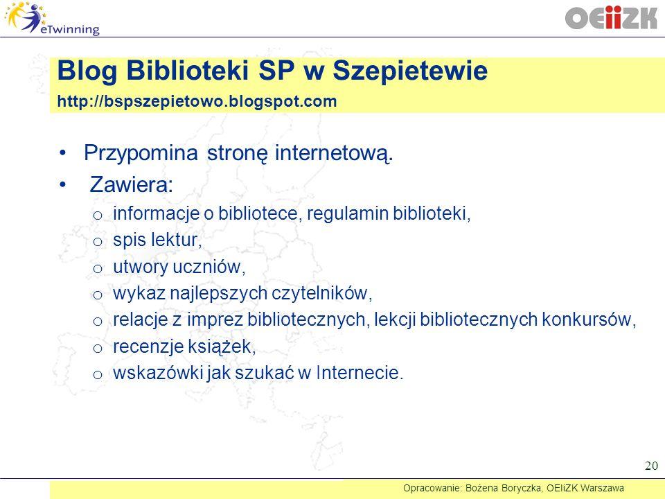 Przypomina stronę internetową. Zawiera: o informacje o bibliotece, regulamin biblioteki, o spis lektur, o utwory uczniów, o wykaz najlepszych czytelni