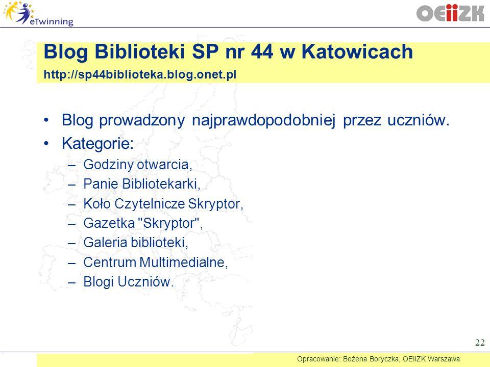 Blog prowadzony najprawdopodobniej przez uczniów. Kategorie: –Godziny otwarcia, –Panie Bibliotekarki, –Koło Czytelnicze Skryptor, –Gazetka