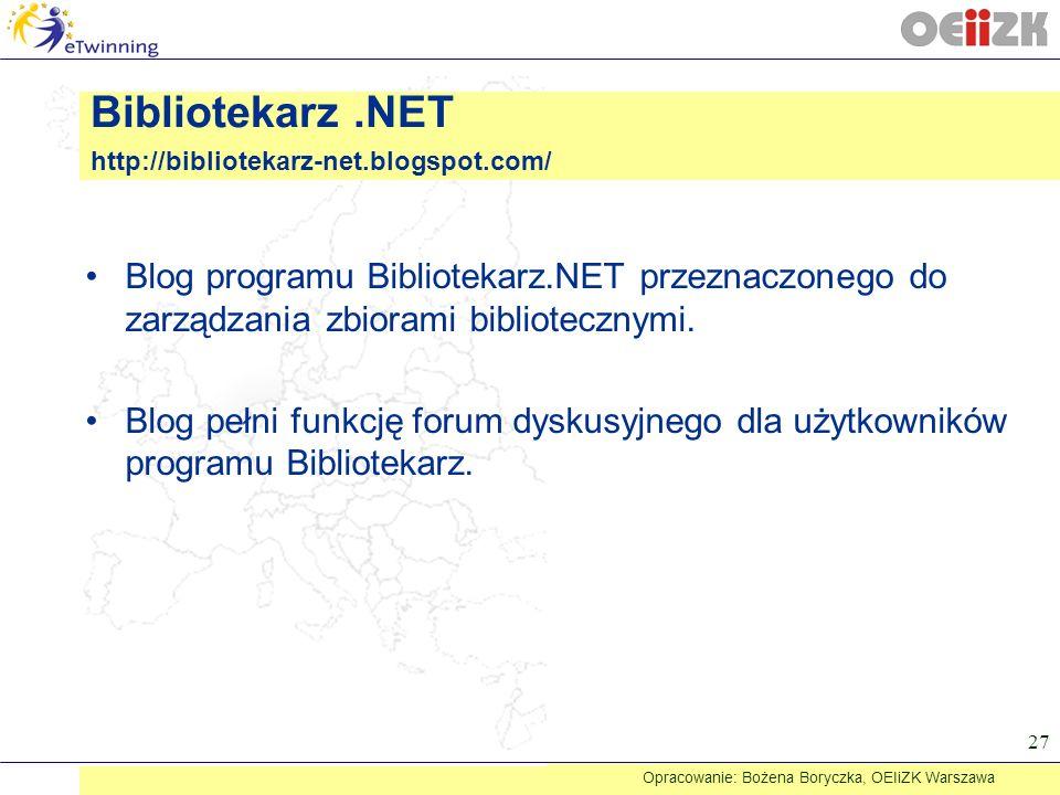 Blog programu Bibliotekarz.NET przeznaczonego do zarządzania zbiorami bibliotecznymi. Blog pełni funkcję forum dyskusyjnego dla użytkowników programu