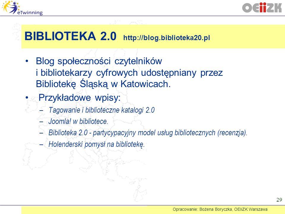 Blog społeczności czytelników i bibliotekarzy cyfrowych udostępniany przez Bibliotekę Śląską w Katowicach. Przykładowe wpisy: – Tagowanie i bibliotecz