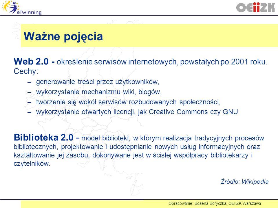 Ważne pojęcia Web 2.0 - określenie serwisów internetowych, powstałych po 2001 roku. Cechy: –generowanie treści przez użytkowników, –wykorzystanie mech