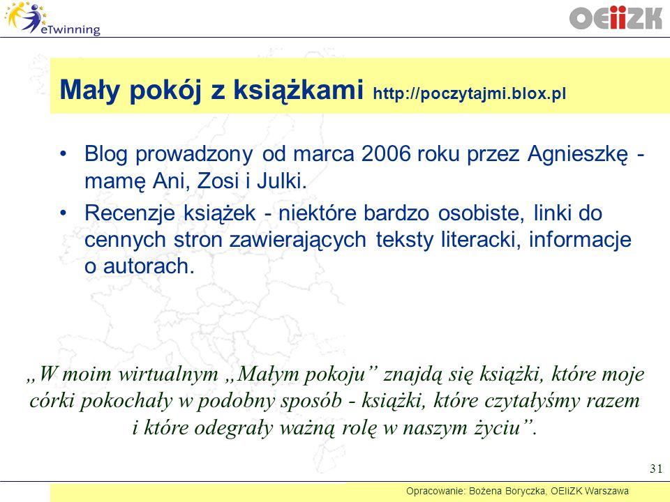 Blog prowadzony od marca 2006 roku przez Agnieszkę - mamę Ani, Zosi i Julki. Recenzje książek - niektóre bardzo osobiste, linki do cennych stron zawie