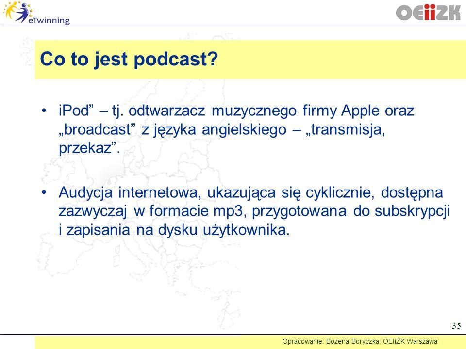 iPod – tj. odtwarzacz muzycznego firmy Apple oraz broadcast z języka angielskiego – transmisja, przekaz. Audycja internetowa, ukazująca się cyklicznie