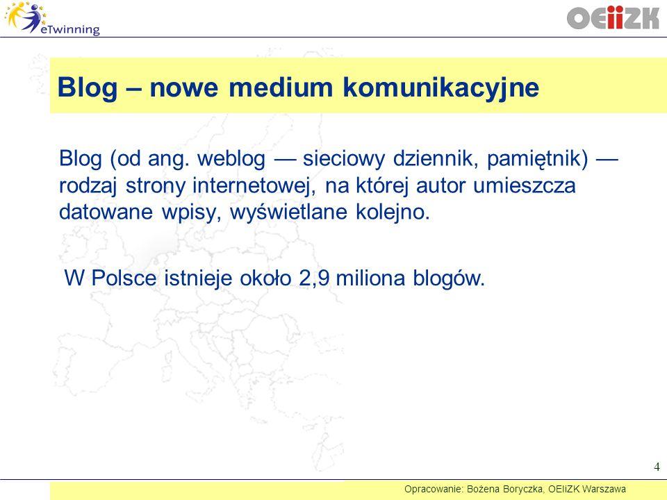Blog – nowe medium komunikacyjne Blog (od ang. weblog sieciowy dziennik, pamiętnik) rodzaj strony internetowej, na której autor umieszcza datowane wpi
