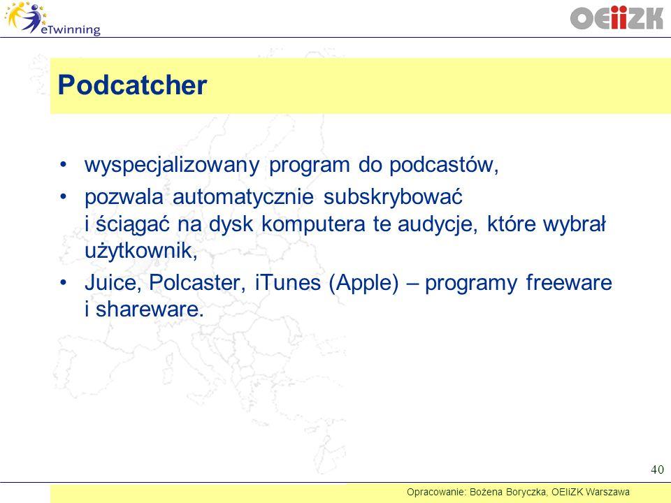 wyspecjalizowany program do podcastów, pozwala automatycznie subskrybować i ściągać na dysk komputera te audycje, które wybrał użytkownik, Juice, Polc