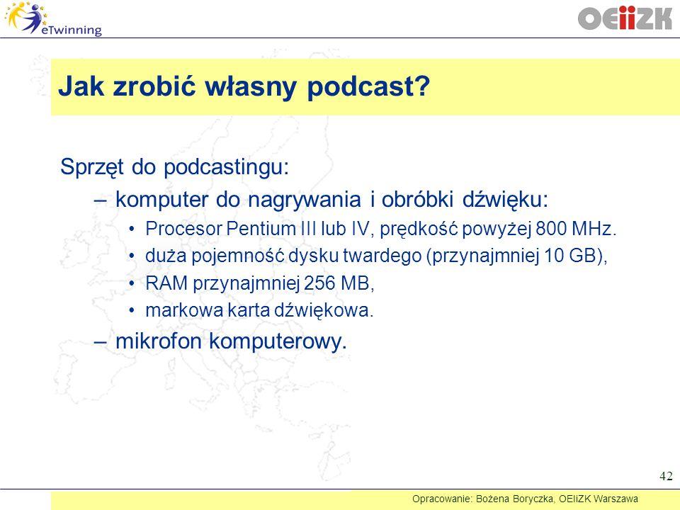 Sprzęt do podcastingu: –komputer do nagrywania i obróbki dźwięku: Procesor Pentium III lub IV, prędkość powyżej 800 MHz. duża pojemność dysku twardego