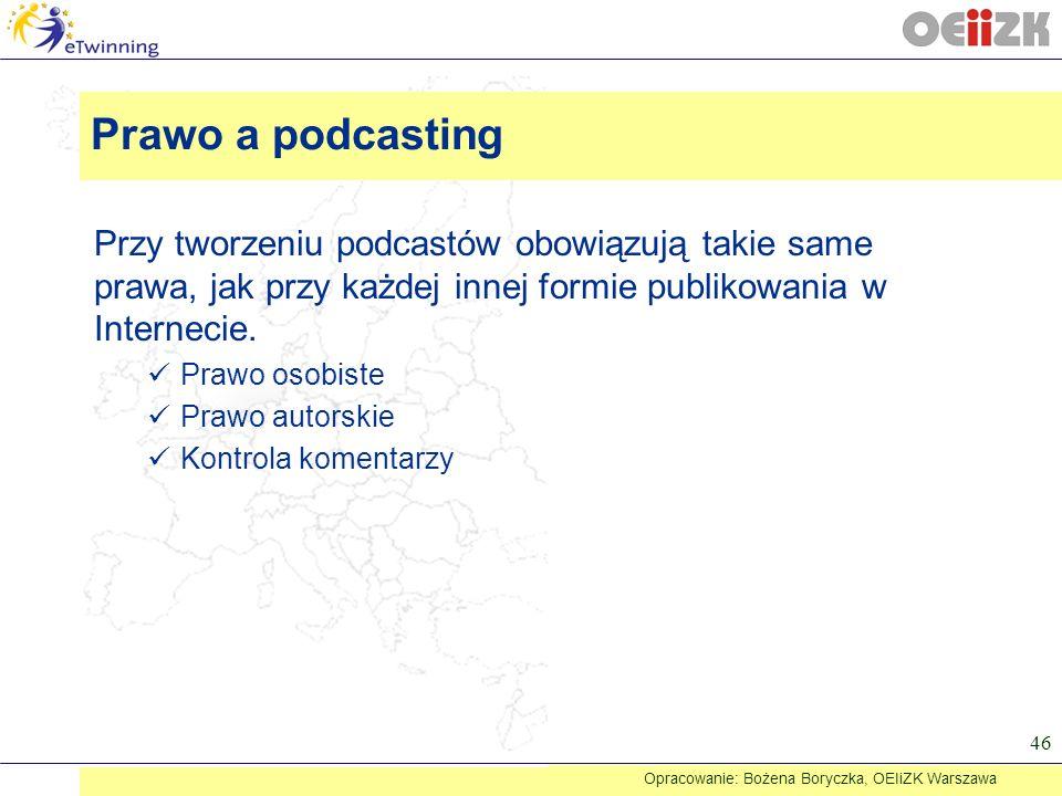 Przy tworzeniu podcastów obowiązują takie same prawa, jak przy każdej innej formie publikowania w Internecie. Prawo osobiste Prawo autorskie Kontrola