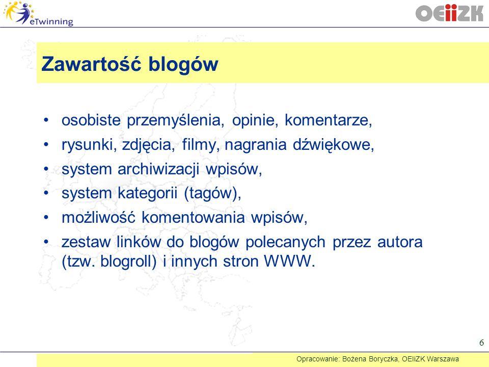Zawartość blogów osobiste przemyślenia, opinie, komentarze, rysunki, zdjęcia, filmy, nagrania dźwiękowe, system archiwizacji wpisów, system kategorii