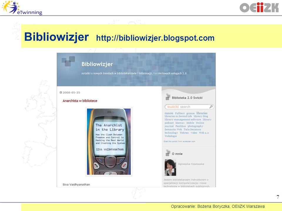 Warto tam zajrzeć www.podcasting.com.pl - platforma poświęcona podcastingowi http://www.polskieradio.pl/podcasting/ - część portalu Polskiego Radia poświęcona podcastom http://www.polcaster.info/index.php - Polcaster - pierwszy polski agregator podcastów http://www.podomatic.com/ - portal Podomatic http://www.zeszytyliterackie.pl/podcast - Podcast Zeszytów Literackich Opracowanie: Bożena Boryczka, OEIiZK Warszawa