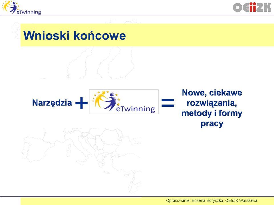 Wnioski końcowe Opracowanie: Bożena Boryczka, OEIiZK Warszawa