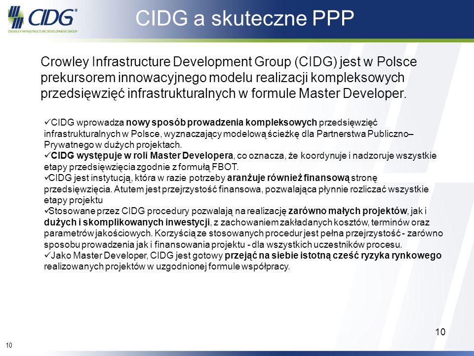 10 Crowley Infrastructure Development Group (CIDG) jest w Polsce prekursorem innowacyjnego modelu realizacji kompleksowych przedsięwzięć infrastruktur