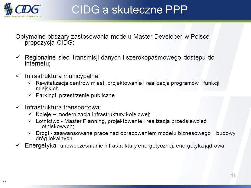 11 CIDG a skuteczne PPP Optymalne obszary zastosowania modelu Master Developer w Polsce- propozycja CIDG: Regionalne sieci transmisji danych i szeroko