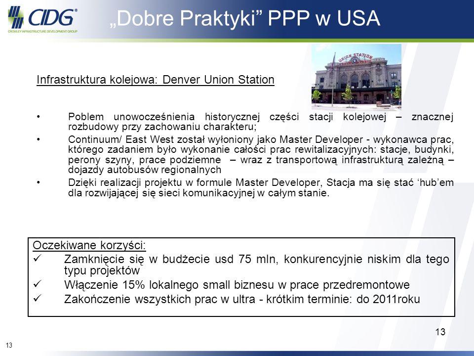 13 Dobre Praktyki PPP w USA Infrastruktura kolejowa: Denver Union Station Poblem unowocześnienia historycznej części stacji kolejowej – znacznej rozbu