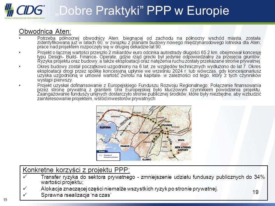 19 Dobre Praktyki PPP w Europie Obwodnica Aten: Potrzeba północnej obwodnicy Aten, biegnącej od zachodu na północny wschód miasta, została zidentyfiko