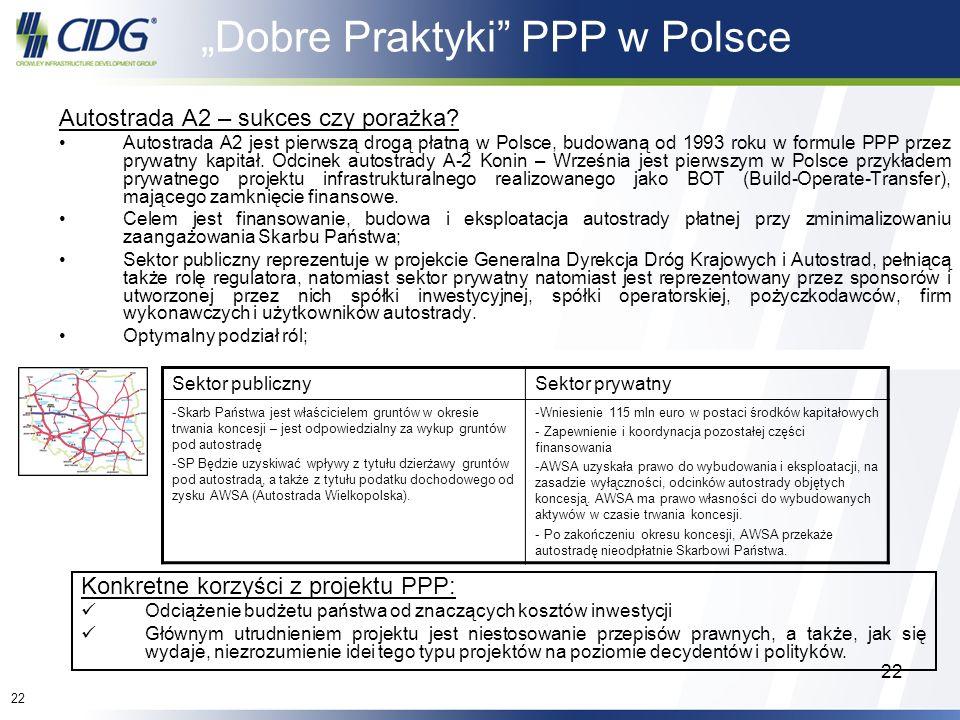 22 Dobre Praktyki PPP w Polsce Autostrada A2 – sukces czy porażka? Autostrada A2 jest pierwszą drogą płatną w Polsce, budowaną od 1993 roku w formule