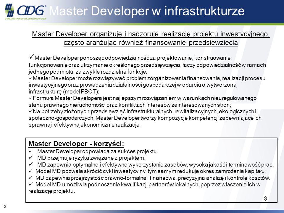 3 3 Master Developer organizuje i nadzoruje realizację projektu inwestycyjnego, często aranżując również finansowanie przedsięwzięcia Master Developer