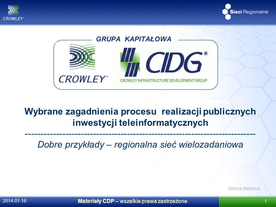 Strona startowa 2014-01-16 Materiały CDP – wszelkie prawa zastrzeżone 1 GRUPA KAPITAŁOWA Wybrane zagadnienia procesu realizacji publicznych inwestycji teleinformatycznych --------------------------------------------------------------------------- Dobre przykłady – regionalna sieć wielozadaniowa