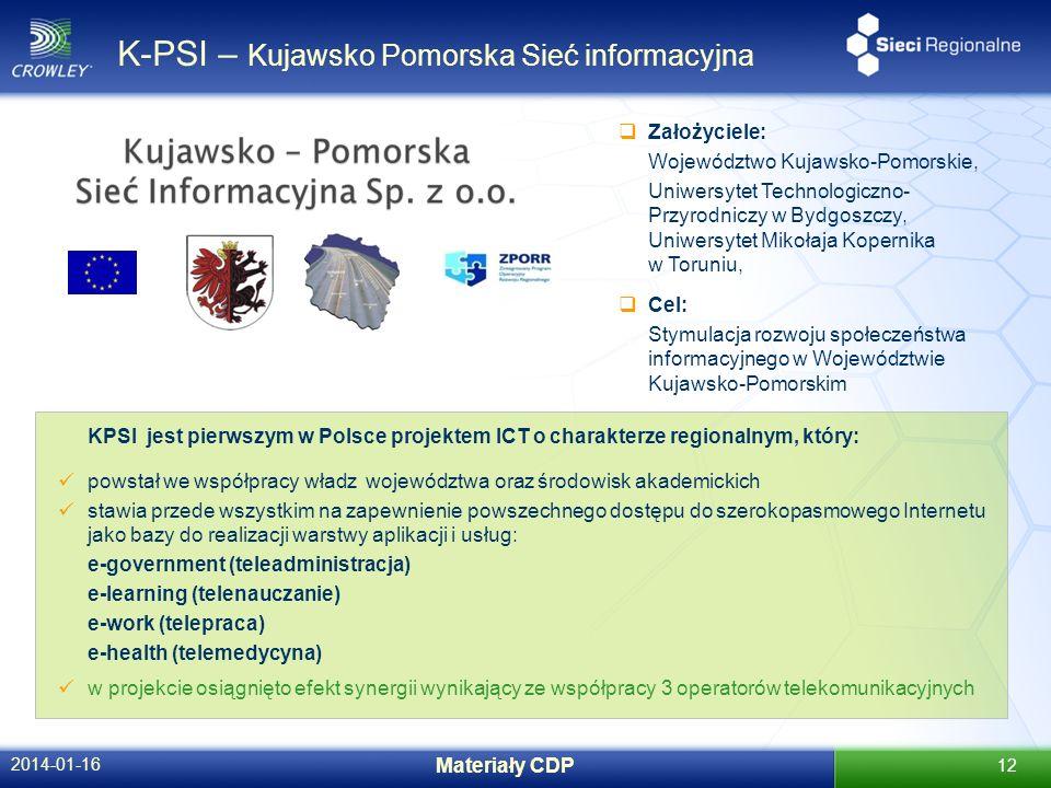 K-PSI – Kujawsko Pomorska Sieć informacyjna 2014-01-16 Materiały CDP 12 Założyciele: Województwo Kujawsko-Pomorskie, Uniwersytet Technologiczno- Przyr