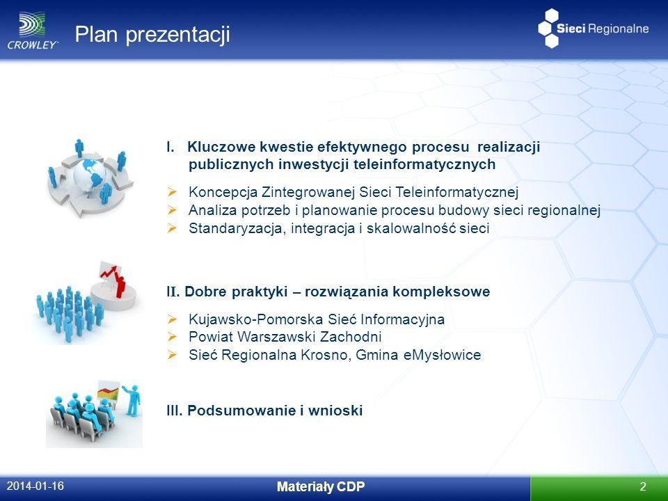Plan prezentacji 2014-01-16 Materiały CDP 2 I. Kluczowe kwestie efektywnego procesu realizacji publicznych inwestycji teleinformatycznych Koncepcja Zi