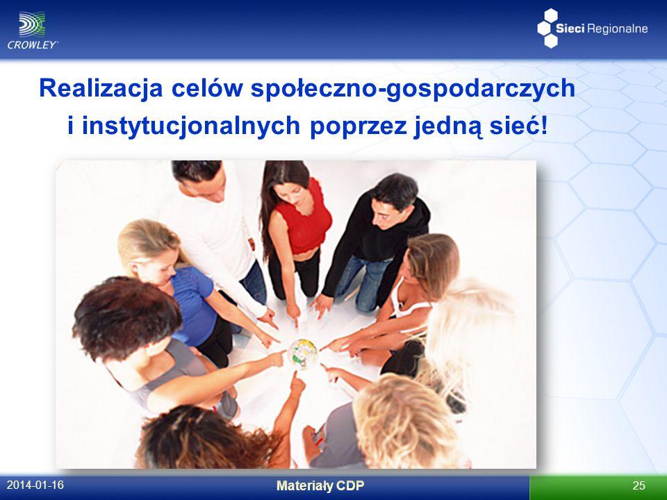 2014-01-16 Materiały CDP 25 Realizacja celów społeczno-gospodarczych i instytucjonalnych poprzez jedną sieć!