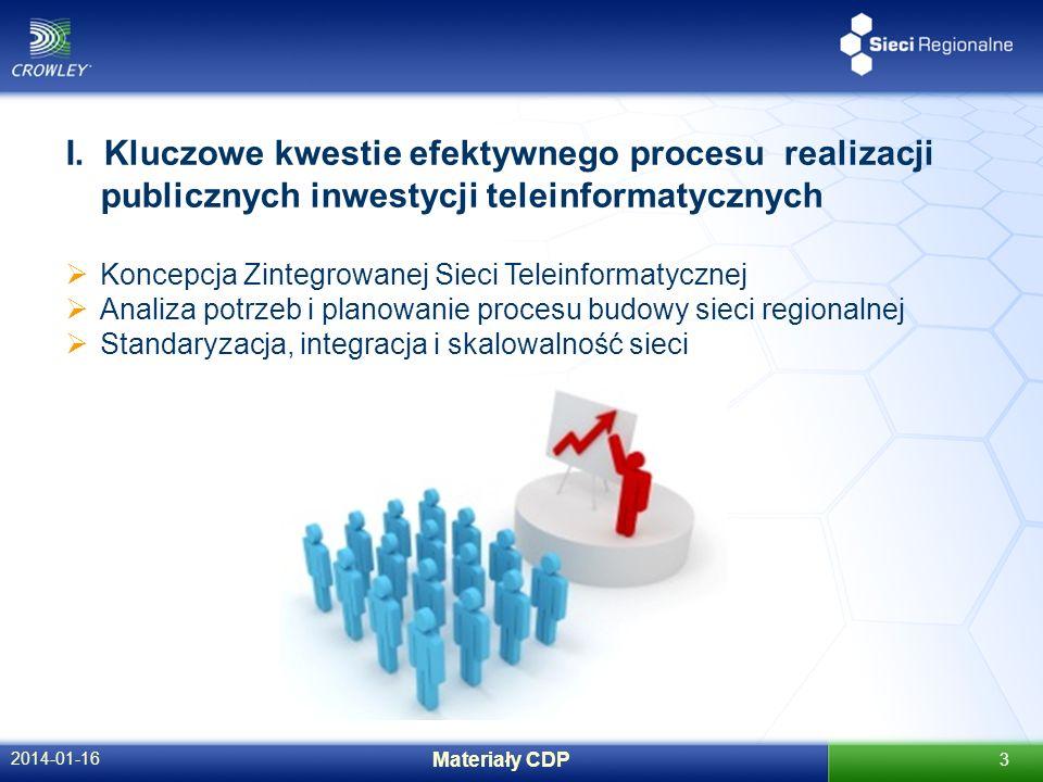 2014-01-16 Materiały CDP 3 I. Kluczowe kwestie efektywnego procesu realizacji publicznych inwestycji teleinformatycznych Koncepcja Zintegrowanej Sieci