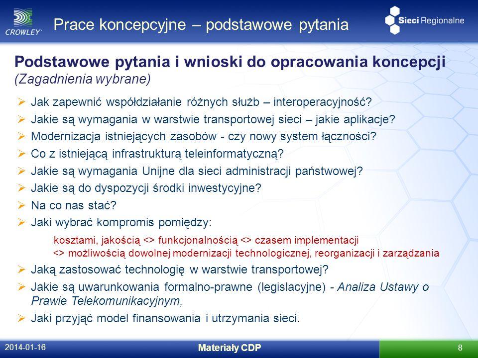 Prace koncepcyjne – podstawowe pytania 2014-01-16 Materiały CDP 8 Jak zapewnić współdziałanie różnych służb – interoperacyjność? Jakie są wymagania w