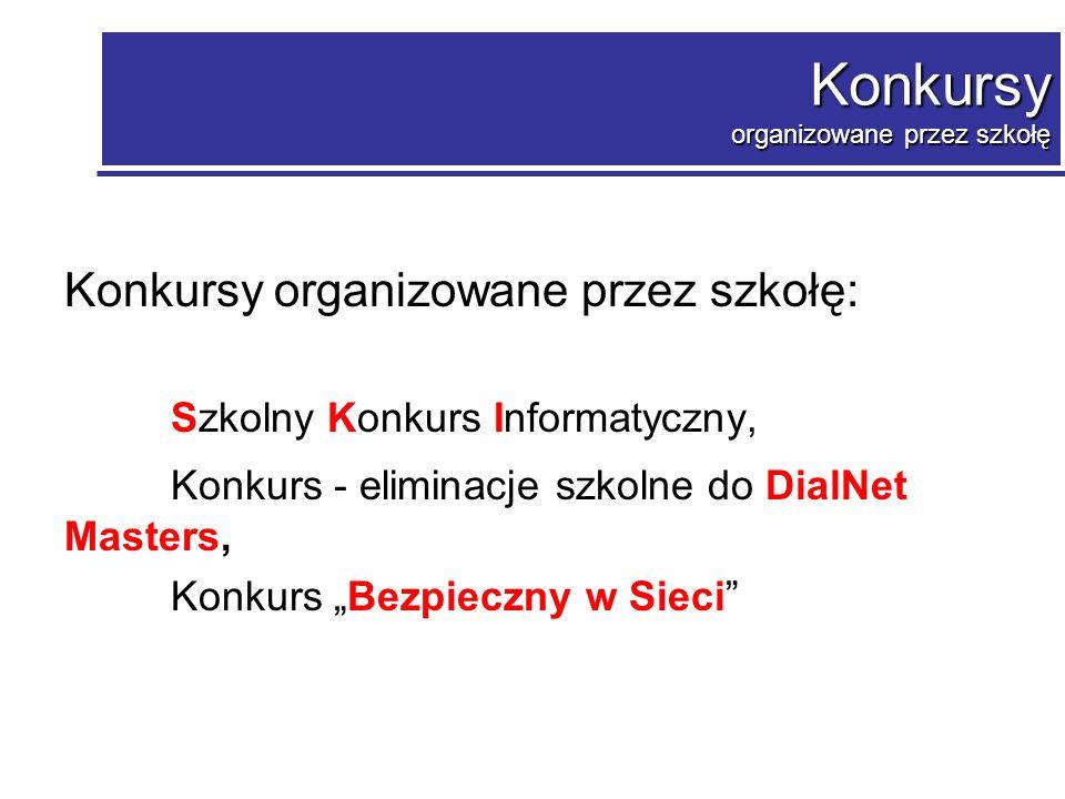 Konkursy organizowane przez szkołę - szkolne: Szkolny Konkurs Informatyczny Od 2003r.