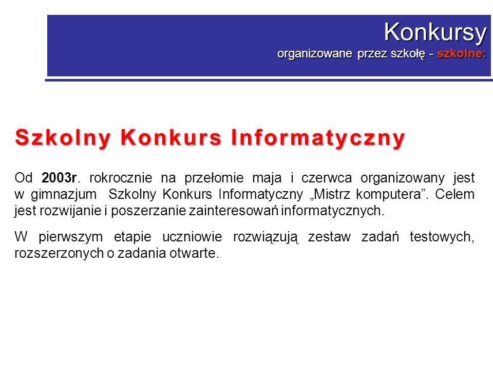 Konkurs o zasięgu powiatowym, w którym uczestniczyli uczniowie szkoły Międzyszkolny Konkurs Biblioteczny Międzyszkolny Konkurs Biblioteczny Biblioteka radość czytania organizowany przez Pedagogiczną Bibliotekę Wojewódzką im.