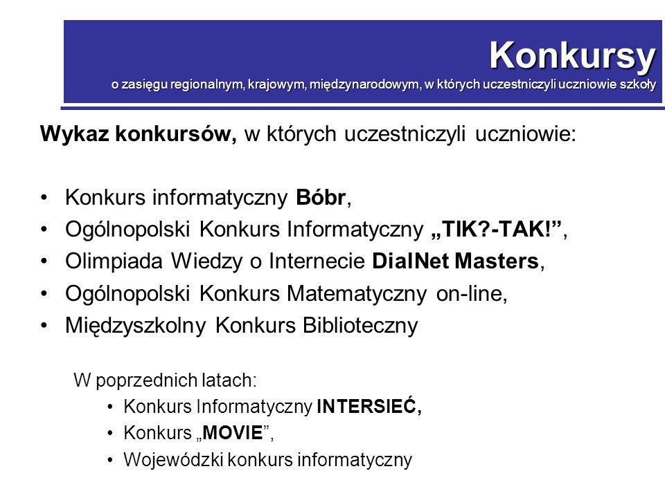 Konkurs o zasięgu krajowym, w którym uczestniczyli uczniowie szkoły Konkurs o zasięgu krajowym, w którym uczestniczyli uczniowie szkoły Ogólnopolski konkurs informatyczny Bóbr.