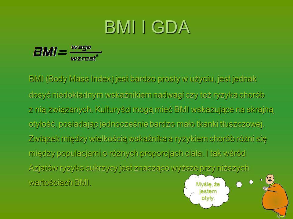 BMI (Body Mass Index) jest bardzo prosty w użyciu, jest jednak dosyć niedokładnym wskaźnikiem nadwagi czy też ryzyka chorób z nią związanych.