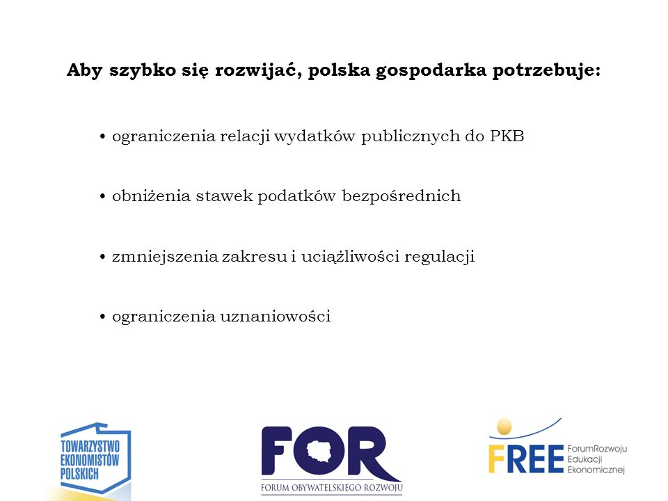 Aby szybko się rozwijać, polska gospodarka potrzebuje: ograniczenia relacji wydatków publicznych do PKB obniżenia stawek podatków bezpośrednich zmniej