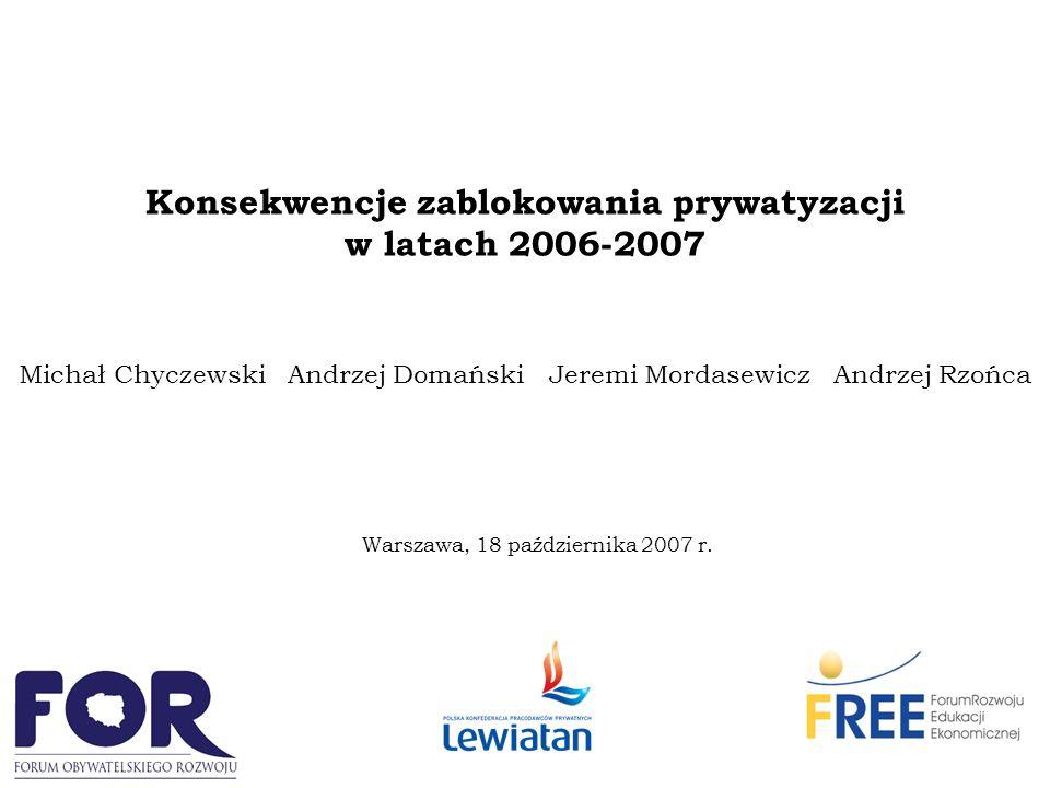 Konsekwencje zablokowania prywatyzacji w latach 2006-2007 Michał Chyczewski Andrzej Domański Jeremi Mordasewicz Andrzej Rzońca Warszawa, 18 października 2007 r.
