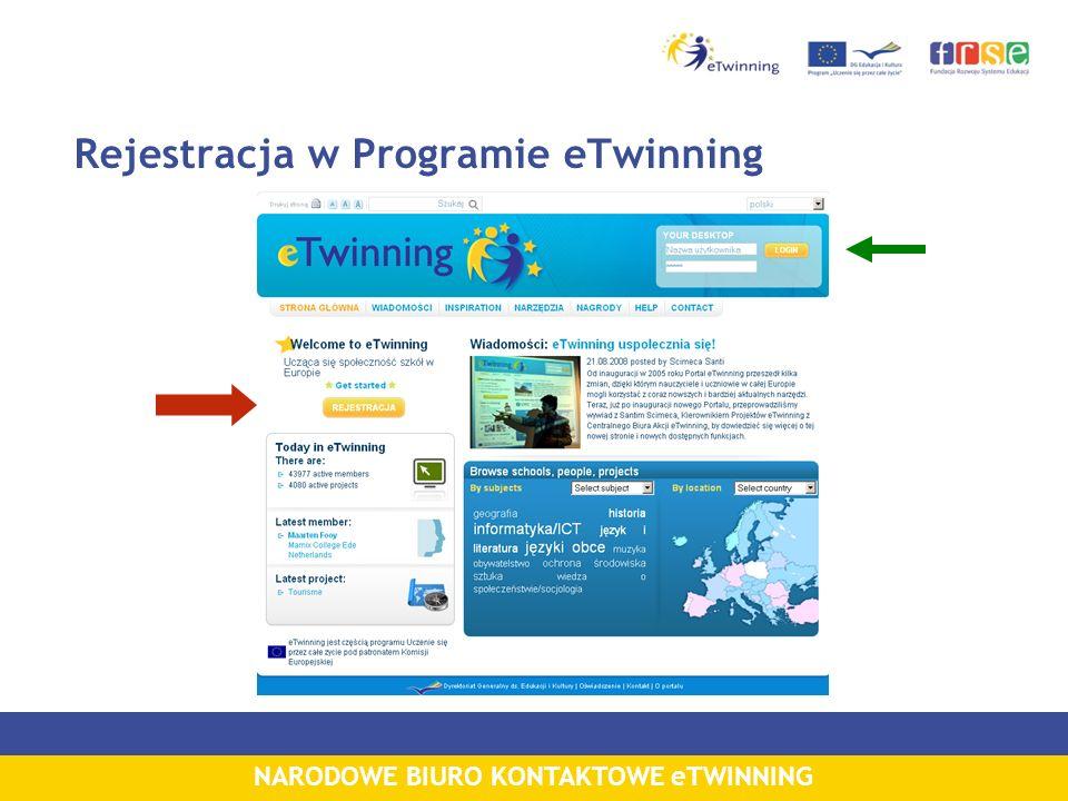 NARODOWE BIURO KONTAKTOWE eTWINNING Rejestracja w Programie eTwinning