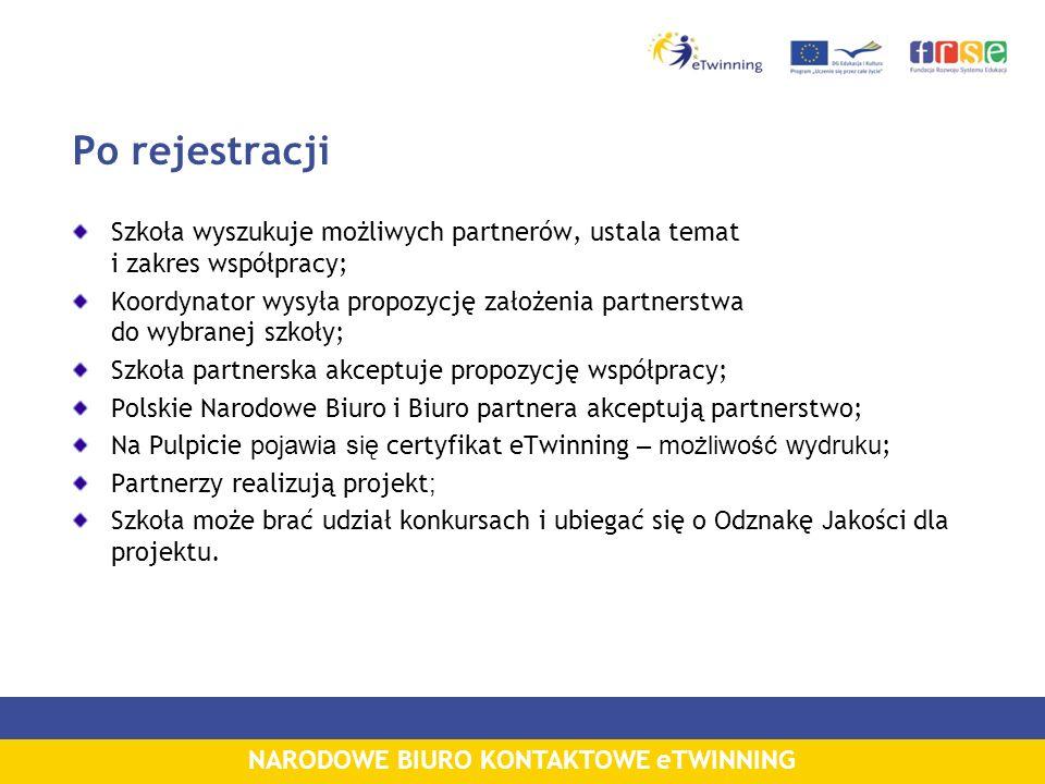 NARODOWE BIURO KONTAKTOWE eTWINNING Po rejestracji Szkoła wyszukuje możliwych partnerów, ustala temat i zakres współpracy; Koordynator wysyła propozycję założenia partnerstwa do wybranej szkoły; Szkoła partnerska akceptuje propozycję współpracy; Polskie Narodowe Biuro i Biuro partnera akceptują partnerstwo; Na Pulpicie pojawia się certyfikat eTwinning – możliwość wydruku ; Partnerzy realizują projekt ; Szkoła może brać udział konkursach i ubiegać się o Odznakę Jakości dla projektu.