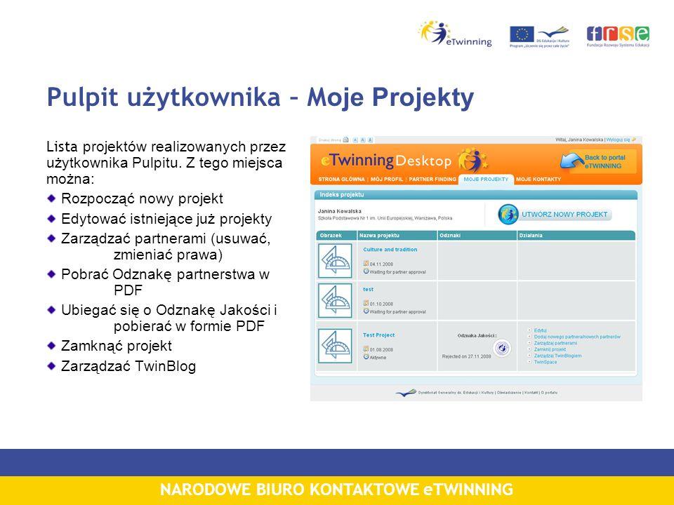 NARODOWE BIURO KONTAKTOWE eTWINNING Pulpit użytkownika – M oje Projekty Lista projektów realizowanych przez użytkownika Pulpitu.