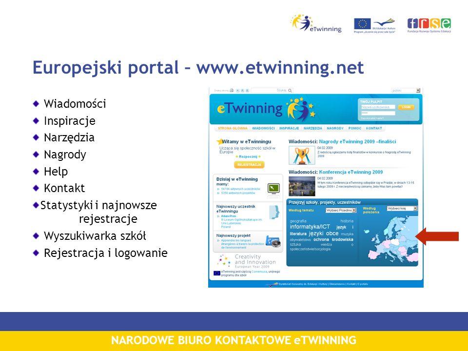 NARODOWE BIURO KONTAKTOWE eTWINNING Europejski portal – www.etwinning.net Wiadomości Inspiracj e Narzędzia Nagrody Help Kontakt Statystyki i najnowsze rejestracje Wyszukiwarka szkół Rejestracja i logowanie