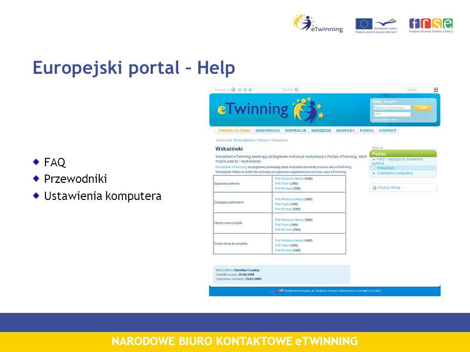 NARODOWE BIURO KONTAKTOWE eTWINNING Europejski portal – Help FAQ Przewodniki Ustawienia komputera